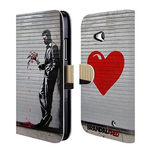 Offizielle Brandalised The Hustler Banksy Kunst Street Tag Brieftasche Handyhülle aus Leder für Microsoft Lumia 640 / Dual SIM (Hustler Leder)