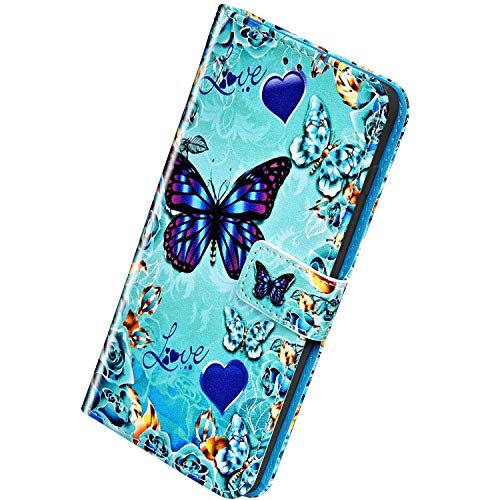 Herbests Kompatibel mit Samsung Galaxy A80 / A90 Leder Hülle Schutzhülle Handyhüllen Bunt Motiv Muster Flip Brieftasche Wallet Tasche Klapphülle Etui Case Magnetverschluss,Schmetterling