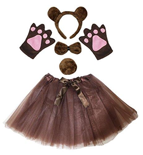 Kostüm Bär Mädchen - Petitebelle Bär Stirnband Bowtie Schwanz Handschuhe Rock 5pc Kostüm für Mädchen Einheitsgröße Braun