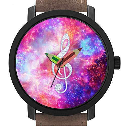 sene | Kinder | Geburtstag | Stilvolle niedliche Armbanduhr mit Bleistift Form Pointer Ornament Geschenk 172.Galaxy Nebula Glitter Music Note Pink Space ()