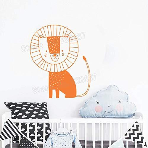 zqyjhkou Dschungel Tier Löwe Wandkunst Aufkleber Nette Kindergarten Vinyl Wandtattoo Abnehmbare Dekoration Wandbild Kinder Schlafzimmer Aufkleber Decals 3 56x69 cm