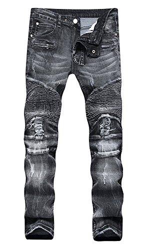 AIYINO Herren BikerJeans Destroyed Look Slim Fit Denim Jeans-Hose 34 R-Grau (Herren Jeans Schrittlänge)