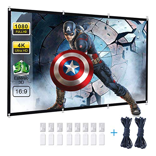 Powerextra Pantalla proyector 120 Inch 16: 9 HD Plegable