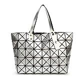 HKDUC Frauen Tasche Damen Geometrische Pailletten Spiegel Plain Folding Handtasche Mosaik...