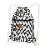 T-BAGS Thailand Baumwoll Turnbeutel Hipster - mit Reißverschluss - 24 Designs – Hochwertiger Beutel, Rucksack, Gym-Bag mit verstellbaren Kordeln (Zickzack)