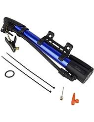 BeiLan Mini bomba de bicicleta portátil bicicletas Bomba de suelo para Dunlop / Woods y la válvula Schrader con soporte de montaje y Bolas y globo de aire para inflar las agujas (Azul Negro)