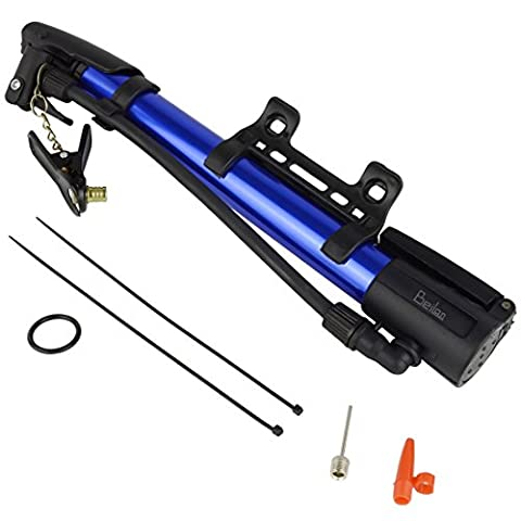 Mini Bike Pump Portable Bicycle Floor Pump for Dunlop/Woods and Schrader Valve with Mounting Bracket and Balls & Balloon air Inflator Needles (Blue