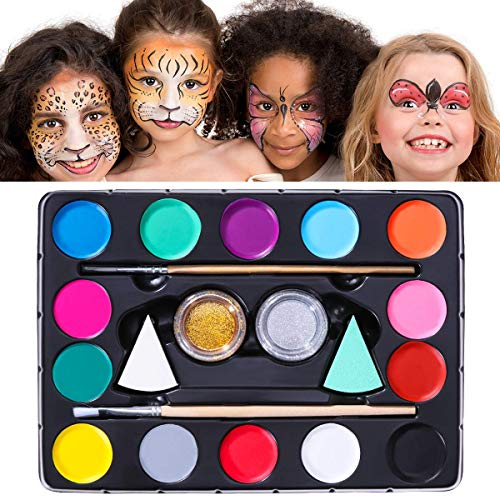 Malen Für Kostüm Eine Katze Gesicht - Unomor Gesichtsbemalungs-Kits für Kinder mit 40 Schablonen, 2 Schwämmen, 2 Pinseln, 2 Glitzern - Gesichtsbemalungs-Kits Professional, Halloween-Make-up-Kit, Gesichtsbemalung, ungiftig, unbedenklich