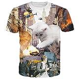 BFUSTYLE Unisex Naturgetreue Huge Cat Printed Grafik-T-Shirt Tops