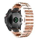 Für Garmin Fenix 3/3HR/5X/MK1 Ersatzarmband,Colorful Metallarmband Uhrenarmband Edelstahl Replacement Wechselarmband Metall Watch Band für Garmin Fenix 3/3HR/5X/MK1,Roségold