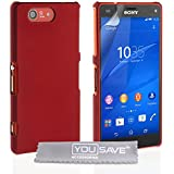 Yousave Accessories Hard Hybrid Cover Case für Sony Xperia Z3 Compact, rot