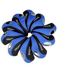 Giwox - Juego de 10 fundas para cabezas de palos de golf de neopreno elástico, 2 colores opcionales (azul y negro) mujer, hombre, infantil