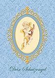Erhältlich im 1er 4er 8er Set: Wunderschöne Klappgrusskarte (Glückwunschkarte/Geburtskarte/Geburt/Babygrusskarte/Grusskarte/Taufe/Taufkarte) mit einem Engel und Gitarre in Blau-Tönen. Text: