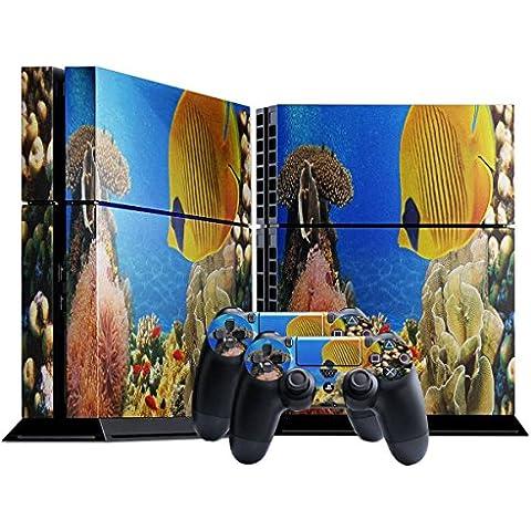 Pesce Oceanico, Skin Autoadesivo Sticker Adesivi Pelle Cover Decal Set con Disegno Strutturato con Playstation 4 CUH 1000 1100