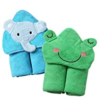 InsHere Toddler Beach Hooded Towel for Baby Kids with Cute Animal Design