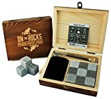 On The Rocks Luxus Whiskey Steine Geschenk-Set | 9 Natural Speckstein und basalt Chillen Rocks | stylisches Holz Box | Zange und Samtbeutel