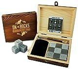 On The Rocks lusso whiskey stones Gift set | 9pietra ollare naturale e basalto Chilling Rocks | elegante scatola di legno | pinze e sacchetto di velluto