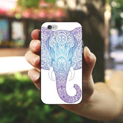 Apple iPhone 4s Hülle Case Handyhülle Elefant Mandala Ornamente Silikon Case schwarz / weiß
