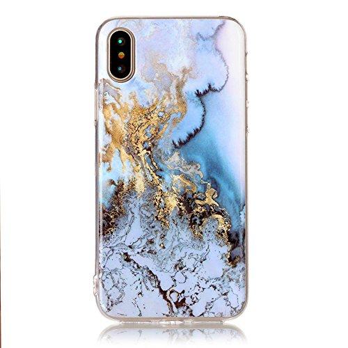 Slynmax Marble Style TPU Cover per iPhone X Custodia Silicone Caso Molle di Morbida Sottile TPU+IMD Gel Transparent Bumper Case Protettiva Caso Chiaro Copertura Slim Thin Skin Shell Protezione per iPh Modello #9