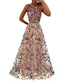 Damen Tüll Ärmellos Party Lang Gestickten Blumen Abend Brautkleid Cocktail Ballkleid Rockabilly Kleid Pink M