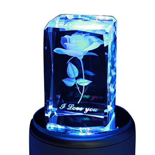 liwuyou Bunte romantische Gravur Merry Christmas Gifts 3D-Kristall Music Box, Rose Love, Music Base 2.00 watts (Music Rose Box)