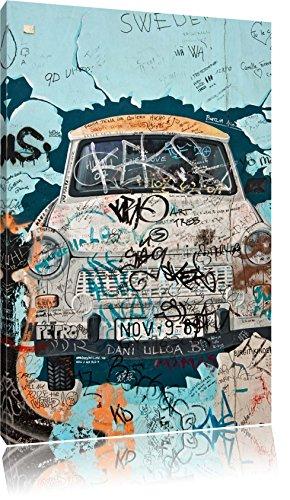 Pixxprint LFs7804_60x40 Trabant durch Mauer fertig gerahmt mit Keilrahmen Kunstdruck kein Poster oder Plakat auf Leinwand, 60 x 40 cm