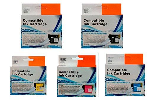 Pack 5cartouches (2Noir, 1Cyan, 1Magenta, 1Jaune), compatible LC980, LC985LC1100Brother DCP145C dCP163C dCP165C dCP167C, DCP185C DCP195C, dCP197C dCP365CN,,, dCP373CW dCP375CW dCP377CW,,,, dCP383C dCP385C dCP387C dCP395CN, , dCP585CW dCP6690CW, DCPJ125, DCPJ140W, DCPJ315W, DCPJ515W, DCPJ715W, mFC250C mFC255CW, mfc257cw,,, mFC290C mFC295CN mFC297C,,,, MFC490CW MFC5490CN MFC5890CN mFC5895CW, mFC6490CW MFC6890CDW,,, mFC790CW mFC795CW mFC990CW, MFCJ220, MFCJ265W, MFCJ410, MFCJ415W