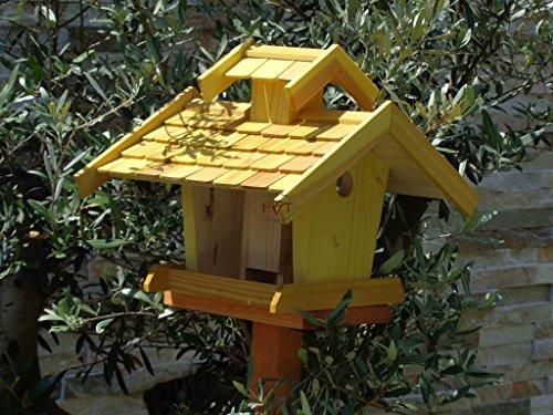 vogelhaus mit ständer, BEL-X-VOVIL4-MS-gelb002 Großes PREMIUM Vogelhaus KOMPLETT mit Ständer wetterfest lasiert, WETTERFEST, QUALITÄTS-SCHREINERARBEIT-aus 100% Vollholz, Holz Futterhaus für Vögel, MIT FUTTERSCHACHT Futtervorrat, Vogelfutter-Station Farbe gelb kräftig sonnengelb goldgelb, MIT TIEFEM WETTERSCHUTZ-DACH für trockenes Futter - 3