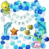 MMTX Palloncini Festa Compleanno Decorazione Festa Tema Marino Palloncino Foil Delfino Stella Marina Polpo Pesce Banner Buon Compleanno Set Palloncini Blu Oceano per Festival Nozze Baby Shower Party