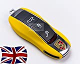 Gloss Yellow Key Cover For Porsche Remote Case Shell Housing Side Painted Trim Boxster Carrera Cayenne Cayman Macan Panamera Spyder 981 718 991 918 911 GTS S PDK D TD Turbo TDI GT4 4S V6 V8 2.0 2.7 3.0 3.4 3.6 3.8 4.1 4.2 4.8 24v Platinum Edition Tiptronic Hybrid AWD Hatchback Coupe Estate Cabriolet Convertible Petrol Diesel 2d 5d Automatic Manual Semi Auto (Gloss Yellow)