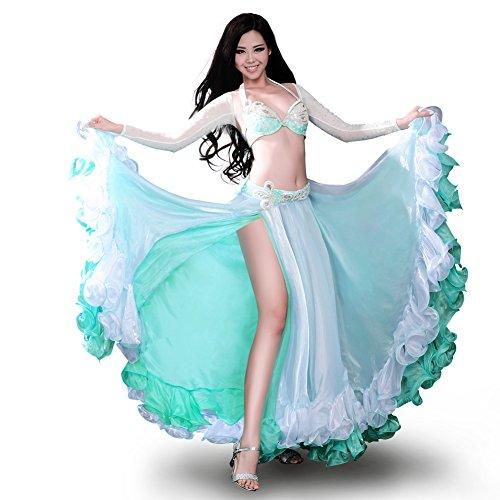 (ROYAL SMEELA Frauen Bauchtanz Kleidung BH Gürtel Rock Top 4 Stück Tanzkostüm Set Wunderschöne Strass Professional Dance Performance Dress Outfit Anzug)