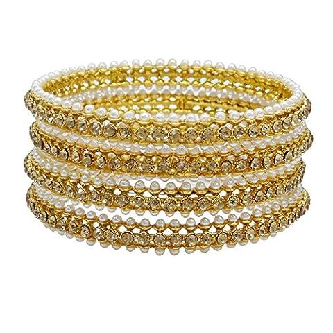 Banithani or plaqué 4 Pcs Kada bracelet Set Pierre CZ bijoux traditionnels de femmes indiennes 2 * 6