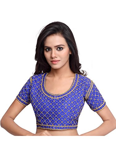 Surat Tex Blue Color Raw Silk Readymade saree blouse designs  available at amazon for Rs.299