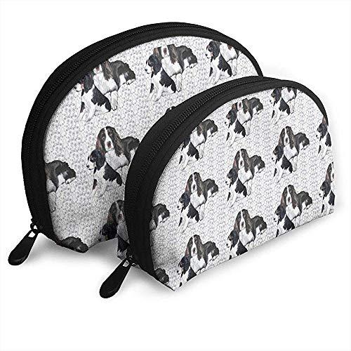 2 STÜCK Kosmetische Reise Aufbewahrungstasche Schwarz Labrador Hund Hintergrund Nähen Tragbare Taschen Clutch Pouch Geldbörse Schreibwaren Bleistiftbeutel -