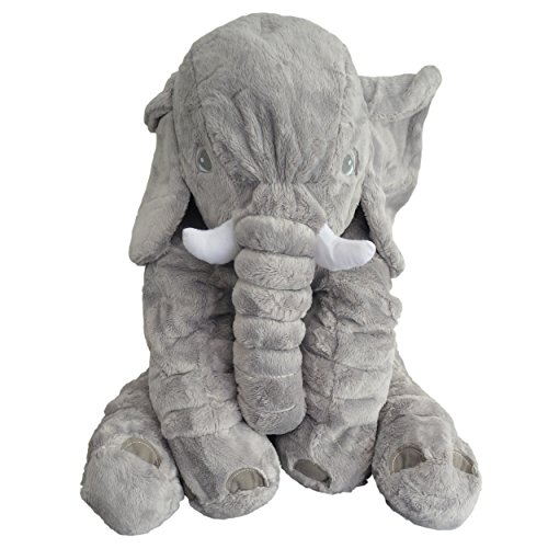 """Fastique Kids® Plüsch-Elefant \""""Paulinchen\"""" - Kuscheltier Baby Spielzeug 60cm - Kuschelkissen Für Kids - Stofftier Schmuse-Elephant Farbe Grau"""