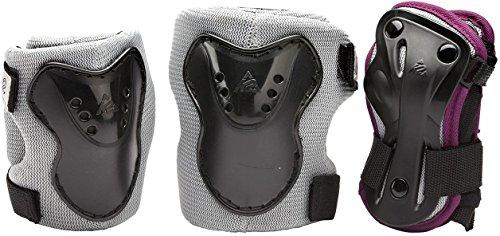 K2 Kinder Inline Skate Schoner Charm Pro Jr Pad Set Silber-Schwarz-Rot - Knieschoner Ellenbogenschoner Handgelenkschoner - Prodektoren Skateboard Schutzausrüstung