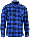 Bikers Gear Australia Limited Motorrad Kevlar Aramid gefüttert Schutz Flanell Hemd, blau/schwarz, Größe 2X L