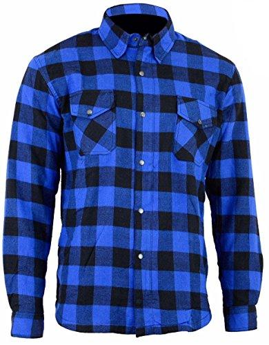 Bikers Gear Australia Limited moto Kevlar Aramid fodera protettiva camicia di flanella, blu/nero, taglia Small