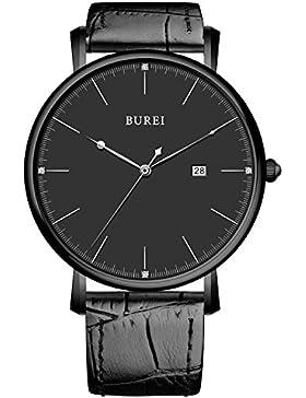 BUREI Minimalistische Stilvolle Ultra Dünn Herrenuhr schwarz Saphirglas Slim Echtleder Armbanduhr mit Datumsanzeige...
