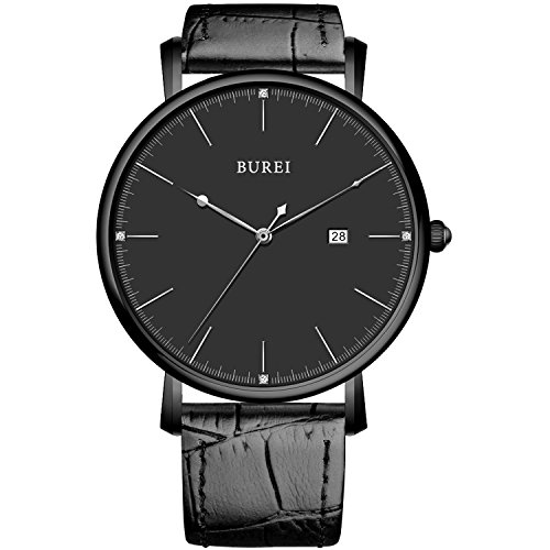BUREI Ultra Mince élégant élégant Mens Watch Sapphire Date Noir Mens Watch avec Flat Big Face et Véritable Bracelet en cuir Souple