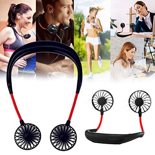 Dkina Tragbarer Mini Lüfter Sportfan,USB Wiederaufladbar Ventilator Leise Mini Handventilator Ventilatoren Lüfter USB Hands-Free Fan für Reisen und Zuhause (Schwarz) - Portable Lüfter