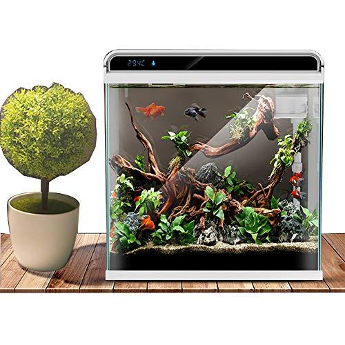 WXJHA Ökologische Zylinder Aquarium Glas Aquarium Nano Aquarium Kit Starter mit Filter und Licht, 26 Liter Geeignet für Bürobedarf Home Decor -