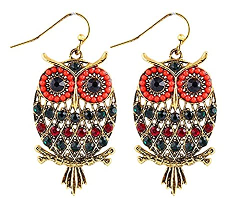 SaySure - Colorful Rhinestone Owl Drop Earrings Jewelry