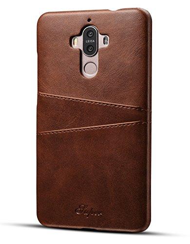 Huawei Mate 9 Hülle, Airart Premium Vintage Weichem Leder-Mappen-Kasten, Ultra Slim PU Leder Rückabdeckung Handyhülle mit 2 ID Kreditkarte Slots Halter für Huawei Mate 9 (5,9 Zoll), Dunkelbraun
