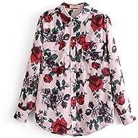 Cnsdy Camisas para Mujeres Rosas Camisas Estampadas Vintage Camisas Sueltas Blusas de Solapa