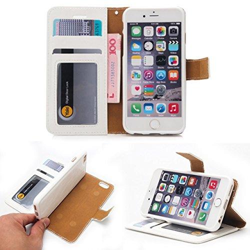 EKINHUI Case Cover Verrückte Pferd Textur Flip Stand Fall Wallet Beutel Case Cover mit Card Slots & Abnehmbare Back Cover für iPhone 6 & 6s ( Color : Blue ) White