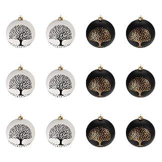 MultiStore 200212Unidades Bolas de Navidad Ø6cm 2Tipos, Negro y Blanco, Bolas de Cristal, Decoración de Navidad Bolas De Navidad Bolas