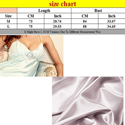 Zhhlinyuan Sexy Women's Satin Silk V-collar sling Pajamas Lingerie Night Dress Light Gray