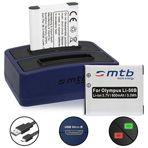 2 Akkus + Dual-Ladegerät (USB) für Li-50b, DB-100, D-Li92 | Olympus SH-..SP-..SZ-..TG-..VG-..VR-..XZ-..mju.. | Ricoh WG-... | Pentax… - s. Liste! (inkl. Micro-USB-Kabel)