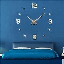 FAS1 Moderno DIY Reloj De Pared Grande Big Reloj Adhesivo 3D Pegatinas Decorativas Efecto De Espejo Acrílico Reloj De Pared Home Office Decoración Extraíble (Batería No Incluida) Plateado